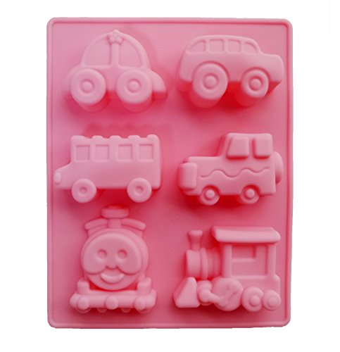 Yunko 6 Cavity Thomas Train and Cute Car Cake Pan Baking Silicone Dessert Chocolate Mold Cookie Mold Pudding Jelly Mold (Cars 2 Cake Pan compare prices)