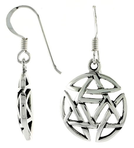 Sterling Silver Star of David Dangle Earrings, 1 5/16 inch (33 mm) tall