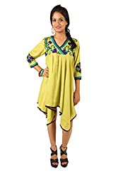 INDRICKA Lime Green colour Bio-silk (Modal) Dress for womens