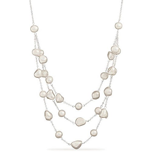 Sterling Silver 16 + 2 Inch Extension Necklace w/ 3 Graduated Strands of Mother of Pearl and Cultured Freshwater Pearl