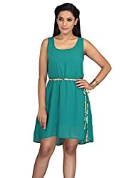 lol green Color Plain Casual Dress for women