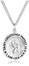 Men's Stainless Steel Necklace with Engraved Saint Christopher Pendant, 24""