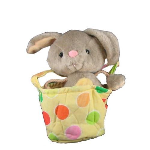 Stuffed Plush Bunny Rabbit in Polka Dot Basket