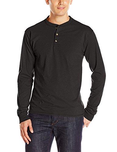 Hanes Men's Long Sleeve Beefy Henley Shirt, Ebony, Medium