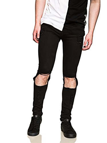 Cheap Monday Uomo Tight Slim Fit Worn Look Jeans, Nero, 34W x 34L