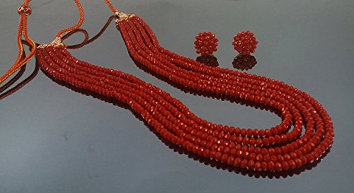 Aradhya Five Layer Red Color Crystal Beads Necklace with Earrings