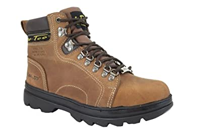 Ad Tec Mens 6in Crazy Horse Brown Hiker Work Boots with Steel Toe - 10 1/2
