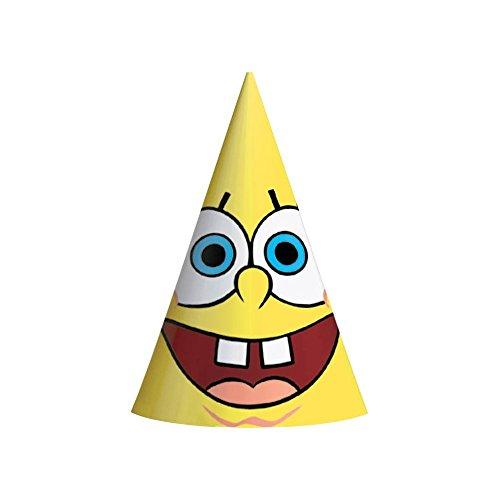 "Amscan SpongeBob 6-1/4"" x 4-1/4"" Classic Party Cone Hats, 8-Count"