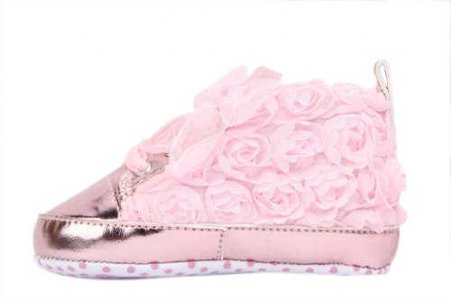 Eozy Soft Non-Slip Baby Toddler Infant Girl Chic Lace Rose Shoes Walking Sneaker Prewalker Gift Outsole Length 12Cm Pink front-27985