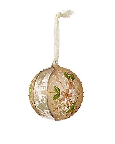 Sage & Co. Beige Hand-Painted Glass Ball Ornament