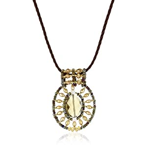 ANDARA Lemon Quartz Seed Beads Oval Pendant Necklace