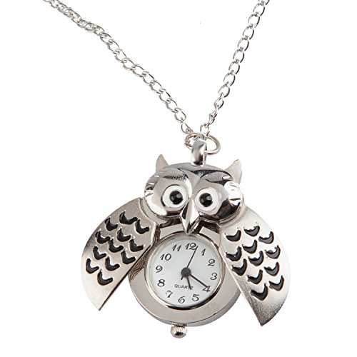 TRIXES Collana fashion a orologio a forma di gufo con pendente