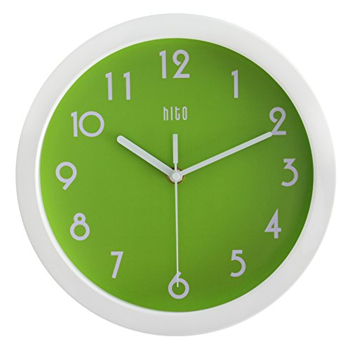 HITO-Modern-Colorful-Silent-Non-ticking-Wall-Clock-10-Inches-Apple-Green