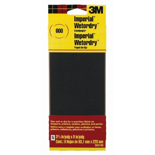 3M Sandpaper, 600-Grit, 3.66-Inch by 9-Inch, 5-Pack (3m Imperial 600 Grit compare prices)