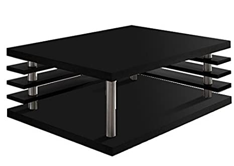 Regalwelt Lamelly Slim Edition - Mesa de centro (87 x 67 x 35 cm, tubos de acero inoxidable)