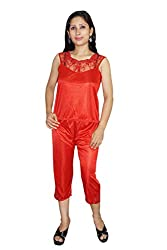 Indiatrendzs Women Satin Nightwear Red 3pc Set Honeymoon Robe, Top & Capri Set