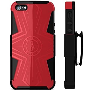 Ariza Imperial® Designer Case for iPhone 4 / 4S - The Best Protective Cover - Slim Grip with Hard Shell - Hybrid Silicon Skin for Men & Girls - Top Durable Protection - Holster Belt Clip / Kick Stand Included - Dualcom Series (Red and Black)