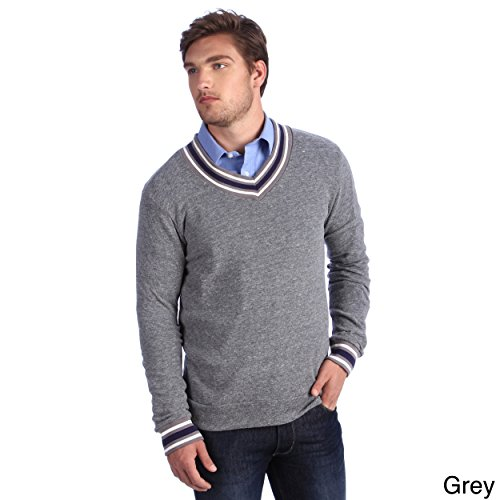 Alternative Apparel Men's Eco-cashmere V-Neck Sweatshirt - Grey - X-Large