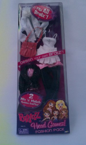 Bratz Head Gamez Fashion Pack 2 Mix 'N Match Fashion Outfits for Doll Includes White Jacket, Denim Jeans, Pink Purse
