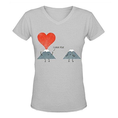 Bunny Angle I Lava You Funny Women's V-Neck T Shirts Grey