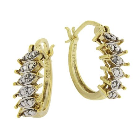 18k Gold over Silver Diamond Accented Small Oval Hoop Earrings