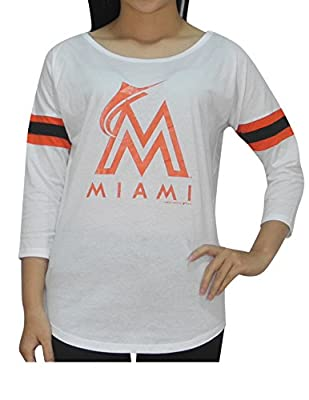 MLB MIAMI MARLINS Womens Athletic 3/4 Sleeve T-Shirt