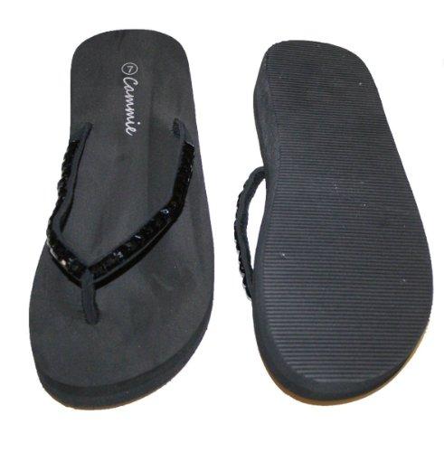 Womens Sandal Platforms Wedges Stones Strap Style Thongs New Flip Flop_Black_8