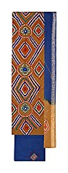 Bandhej Mart Women's Cotton Salwar Suit Material (Brown and Blue)