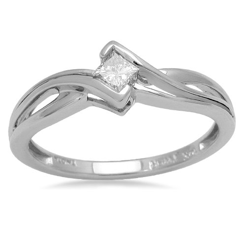 10K White Gold Princess-Cut Diamond Promise Ring (1/7 cttw, I-J Color, I2-I3 Clarity), Size 8