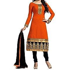 Look Smart Women's Polycoton Unstitched Dress Material (CHANDERI ORANGE_Orange_Free Size)