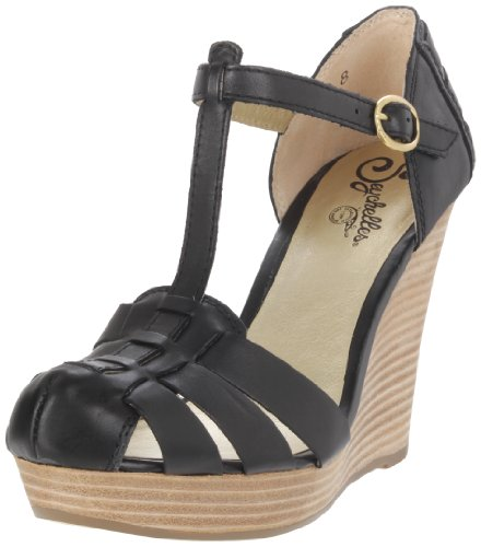 Seychelles Women's Good Intentions T-Strap Wedge,Black,8.5 M US