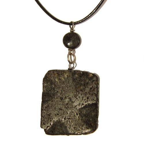 Lava Necklace 01 Pendant Magnetite Natural Black Rectangle Circle Leather Crystal Healing Rock Stone 18