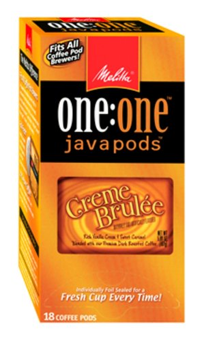 Melitta One, One Java Pods, Creme Brulee, Flavored Premium Dark Roast Coffee, 18-Count Box