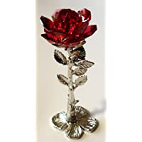 Crystal Rose Standing Red Handcrafted Using Swarovski Crystals - Red Crystal Rose