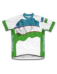 Uzbekistan Flag Short Sleeve Cycling Jersey for Women