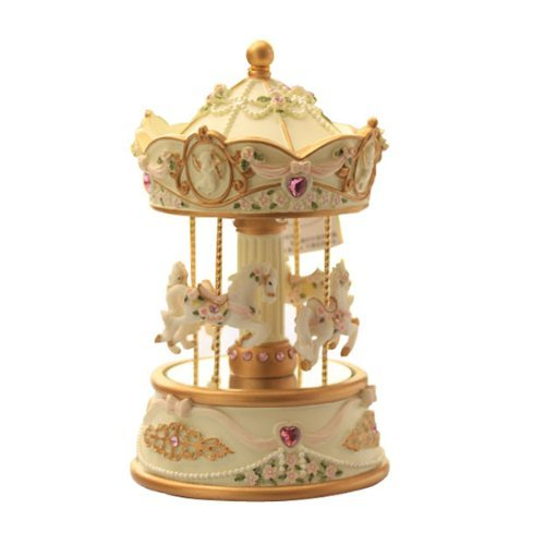 Laxxury 4-Horses Carousel Music Box In Standard Size With Changing Led Light