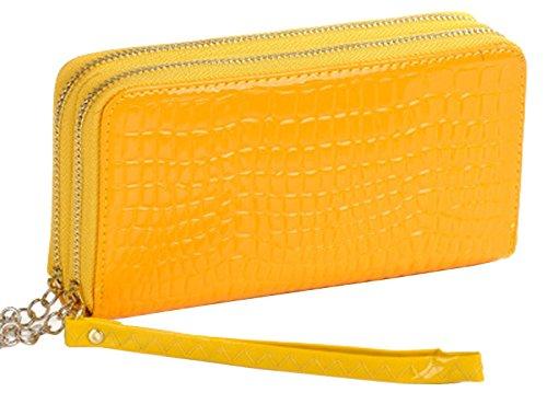 oulinbein-womens-double-zipper-alligator-grain-wallet-clutch-purse-pu-yellow