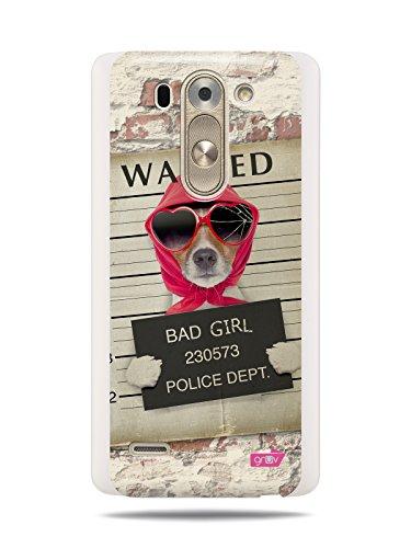 "GRÜV Premium Case - Design ""Tema Novità Scherzo Divertente : Foto Segnaletica Cane Wanted Bad Girl"" - Designer Stampa Alta Qualità su Cover Rigida Bianca - per LG G3 S Mini D722 D724 D725 Beat Vigor"