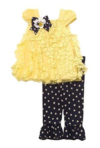 Rare Editions Baby Girl Lace Bumble Bee Flower Pants Set (18m)