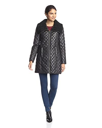 Via Spiga Women's Quilted Jacket with Knit Collar