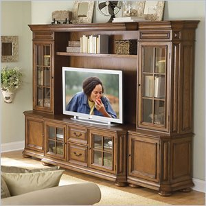 Cheap Riverside Furniture Seville Square Warm Oak 63 Inch TV Stand Entertainment Wall System (8943-PKG)