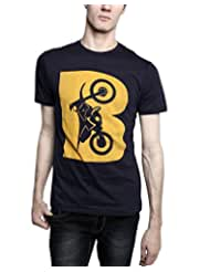 TOMO Men's Cotton Navy Blue Color Round Neck BIKE Printed T-shirt