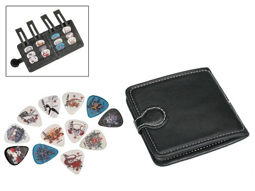 guitar-pick-wallet-12-celluloid-picks-plectrums-random-sets-of-colours-designs-3-each-of-4-thickness