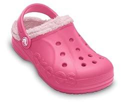 Crocs Children\'s Baya Fleece Clog,Hot Pink/Petal Pink,US 1 M