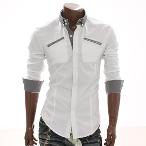 Mens Lip Pocket Casual Shirts WHITE (AT864)