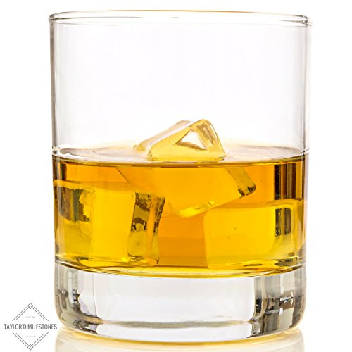 Taylor'd Milestones Scotch Glasses, Premium 10 oz Whiskey Glass is Perfect for Gift Giving and Home Barware. Set of 2, Rocks Style Glassware is Excellent for Bourbon and Old Fashioned Cocktails too. (Crystal Bourbon Glasses compare prices)