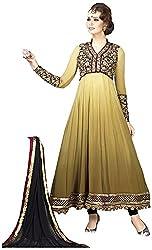 Begum Riwaaz Women's Georgette Unstitched Dress Material (4503, Beige)