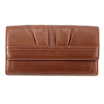 Coach 42813 Soho Pleated Leather Slim Envelope Wallet, Walnut Brown