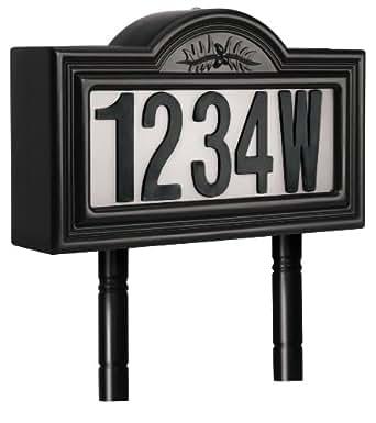Pine Top 508-0011 Plastic Solar-Powered LED Lighted Address Sign, Black