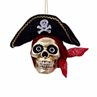 """Kurt Adler 5.5"""" Glass Pirate Skull Halloween Christmas Ornament Hw1610 by KURT ADLER"""